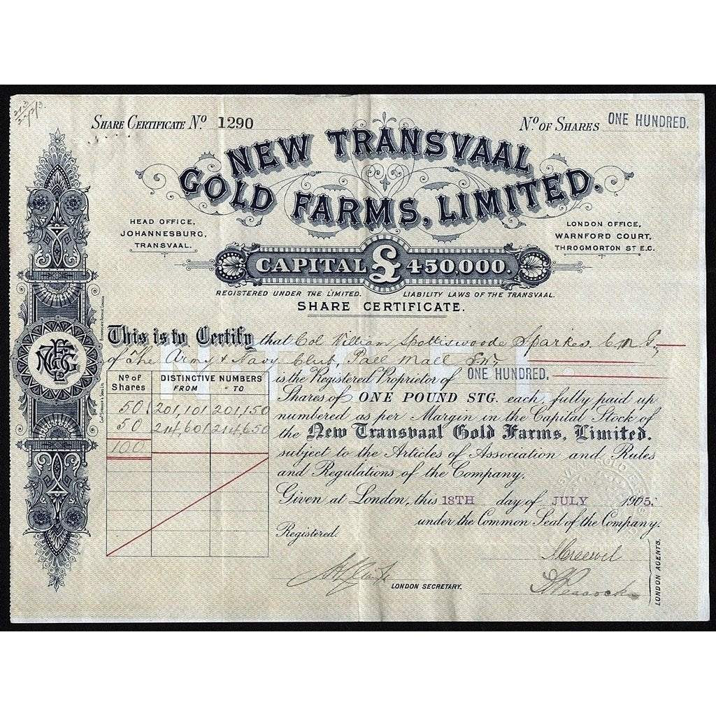 New Transvaal Gold Farms, Limited Stock Certificate