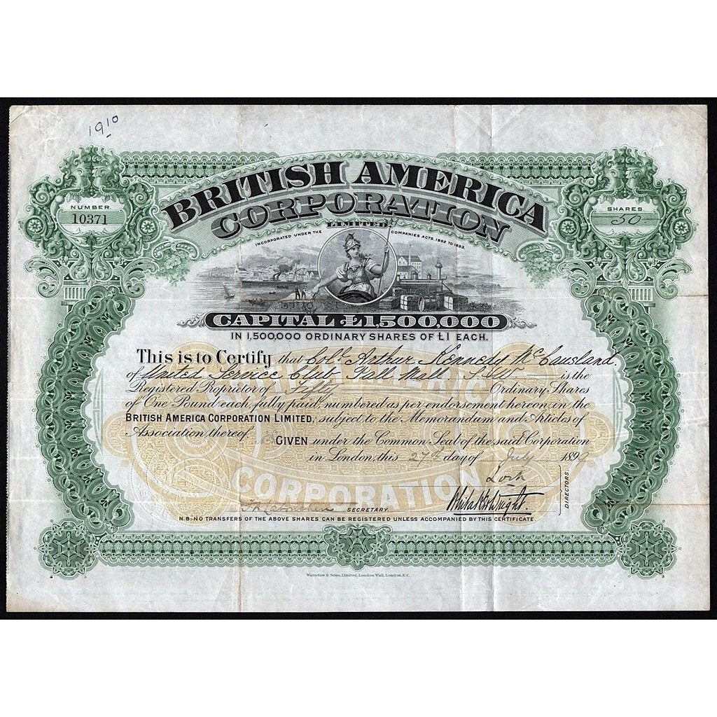 British America Corporation Limited Stock Certificate