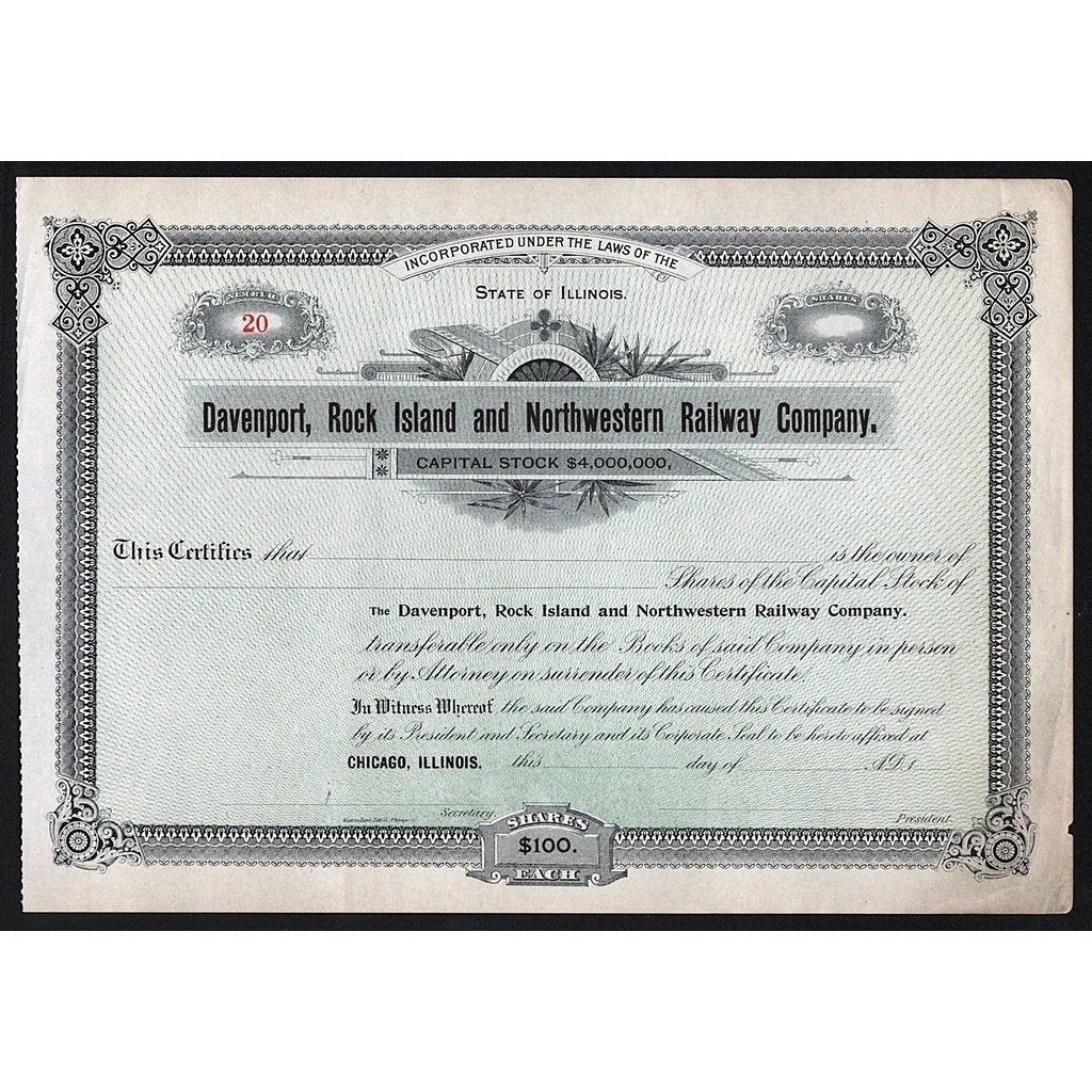 Davenport, Rock Island and Northwestern Railway Company Stock Certificate