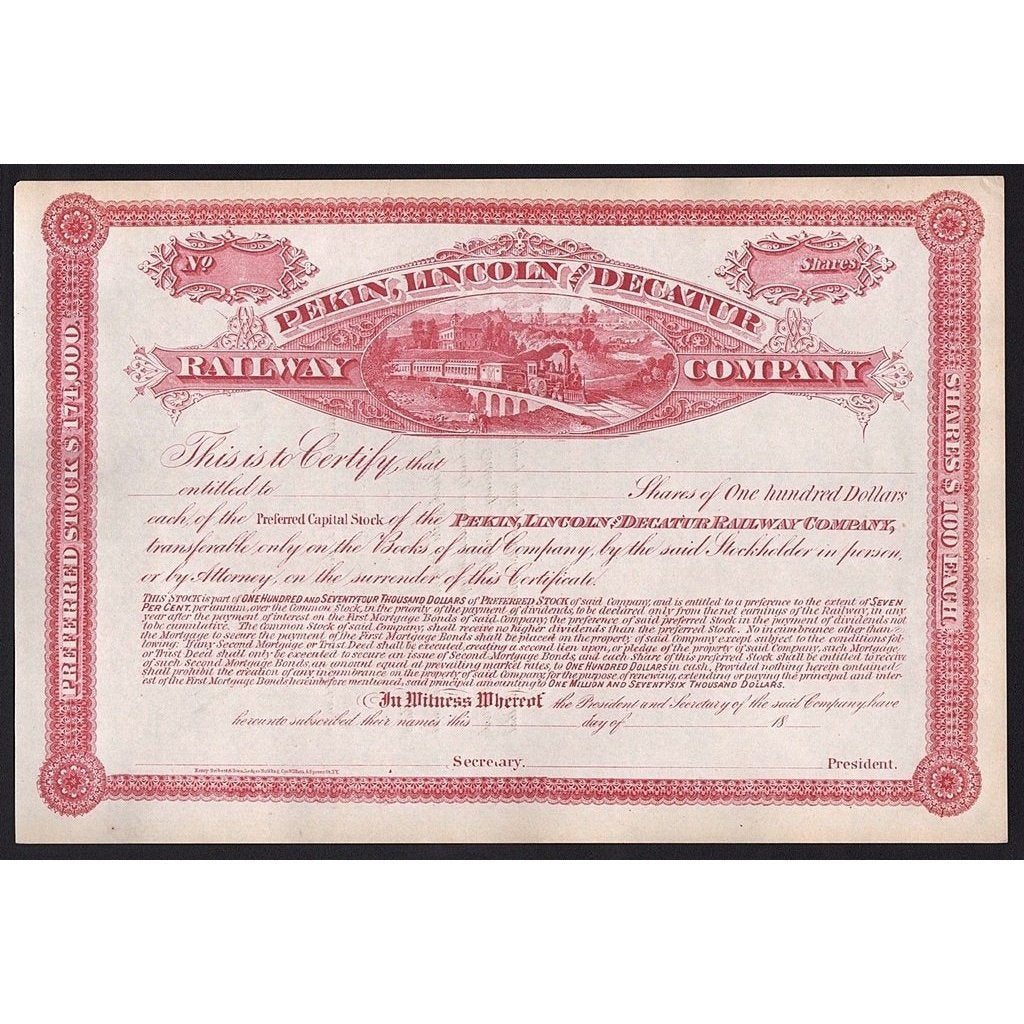 Pekin, Lincoln and Decatur Railway Company Stock Certificate