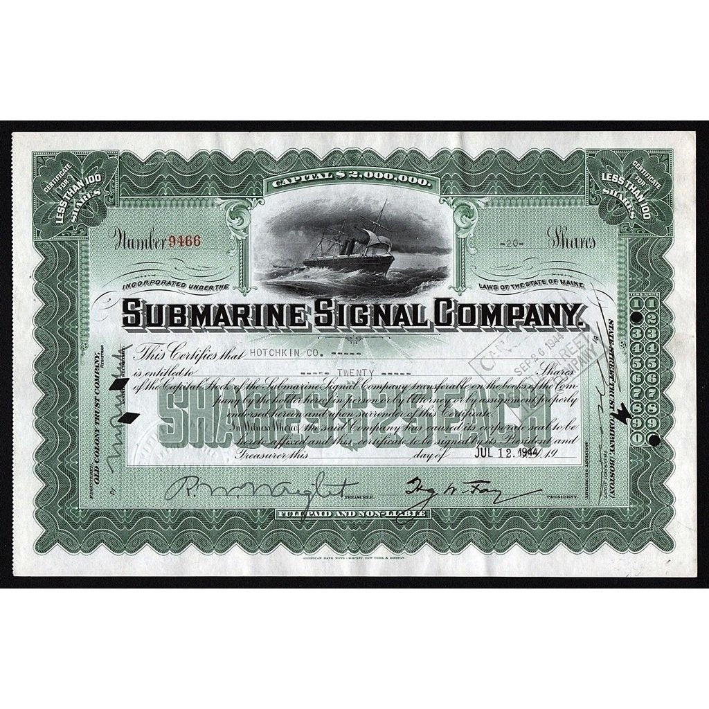 Submarine Signal Company Stock Certificate