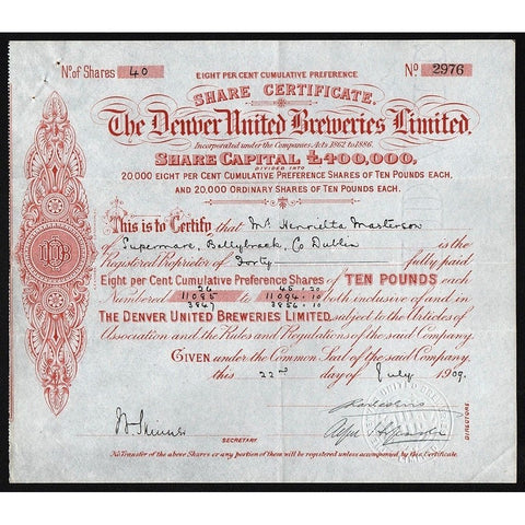The Denver United Breweries Limited Stock Certificate