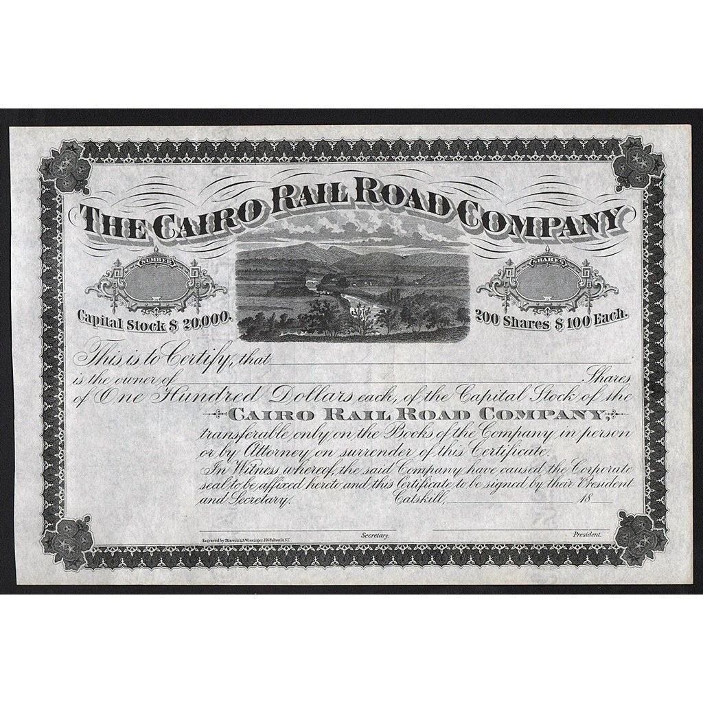 The Cairo Rail Road Company Stock Certificate
