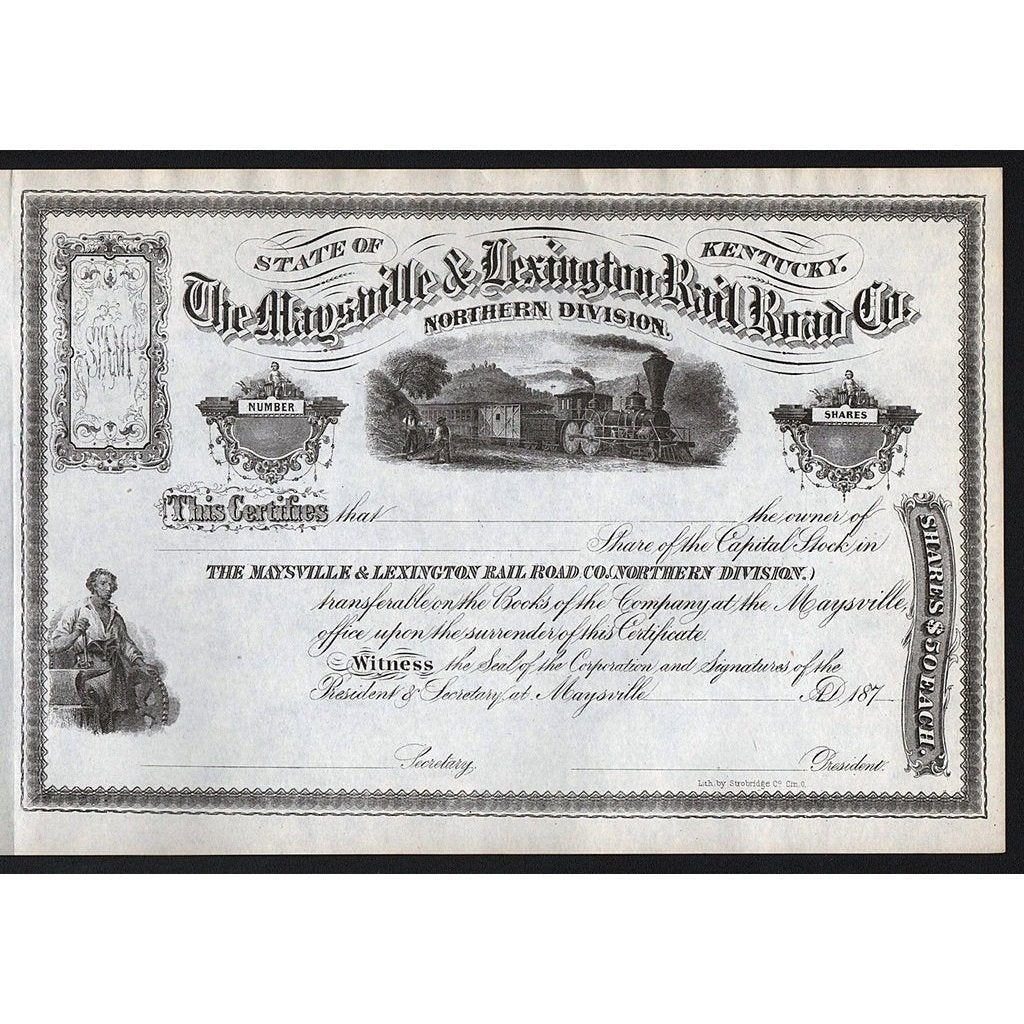 The Maysville & Lexington Rail Road Co., North Division Stock Certificate