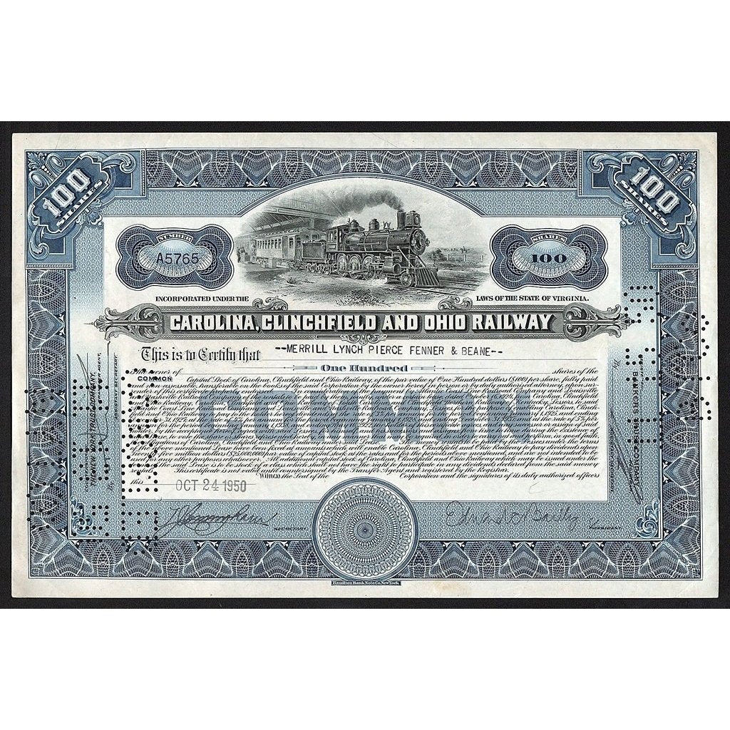 Carolina, Clinchfield and Ohio Railway Stock Certificate