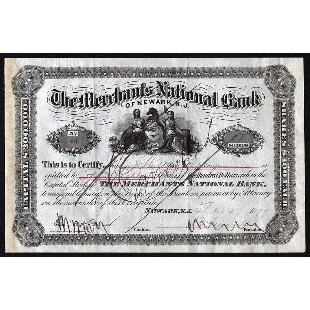 The Merchants National Bank of Newark, N.J. Stock Certificate