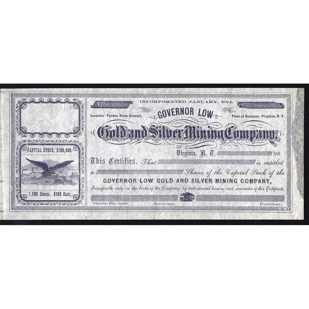 Governor Low Gold and Silver Mining Company Stock Certificate