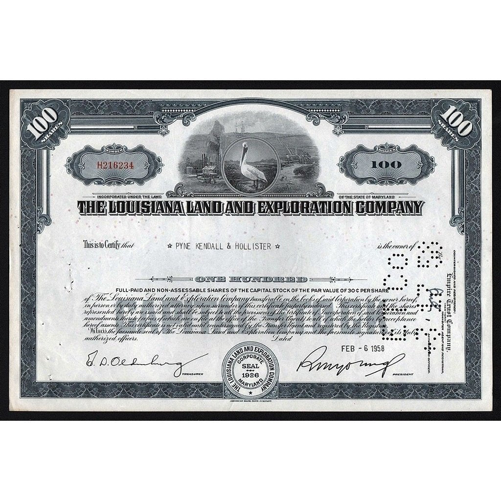 The Louisiana Land and Exploration Company Stock Certificate