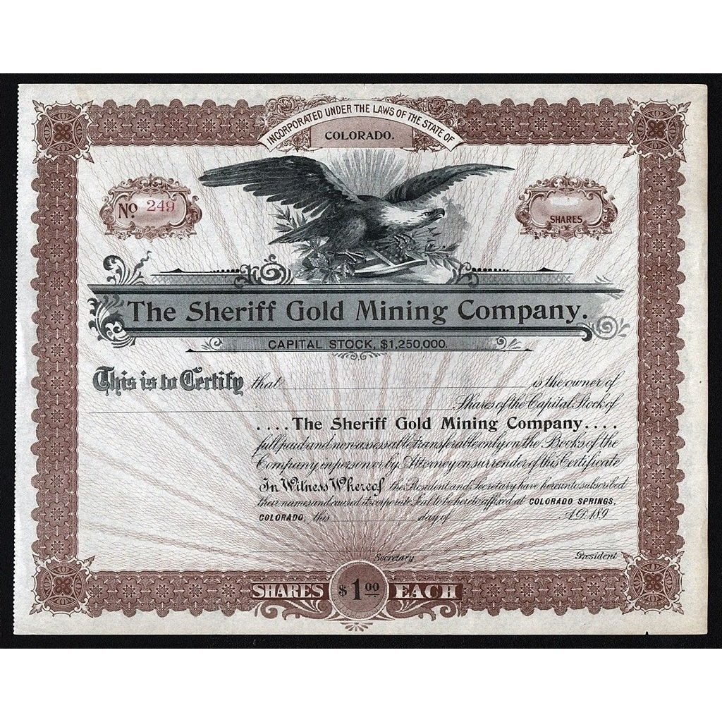 The Sheriff Gold Mining Company (Cripple Creek) Stock Certificate