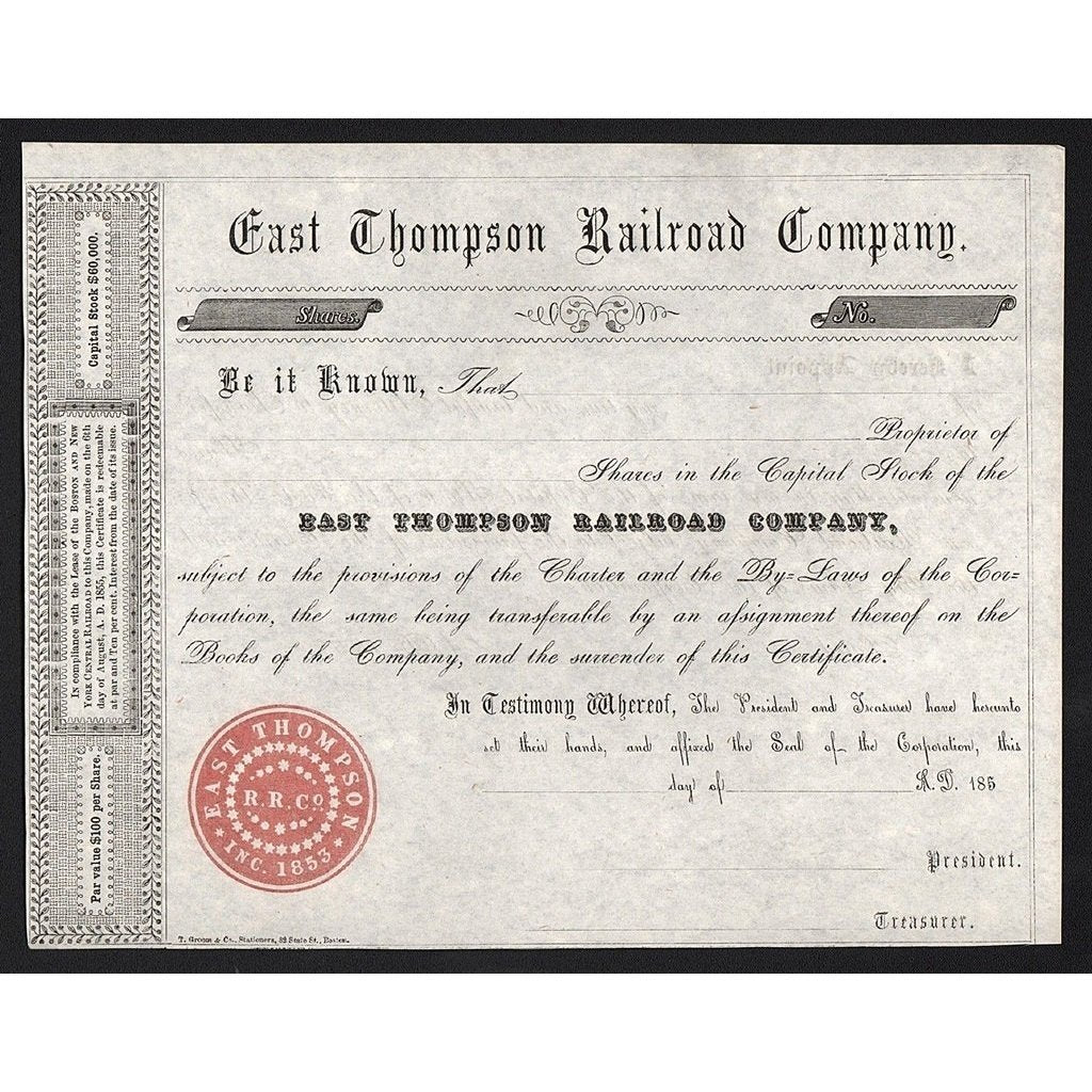 East Thompson Railroad Company Stock Certificate