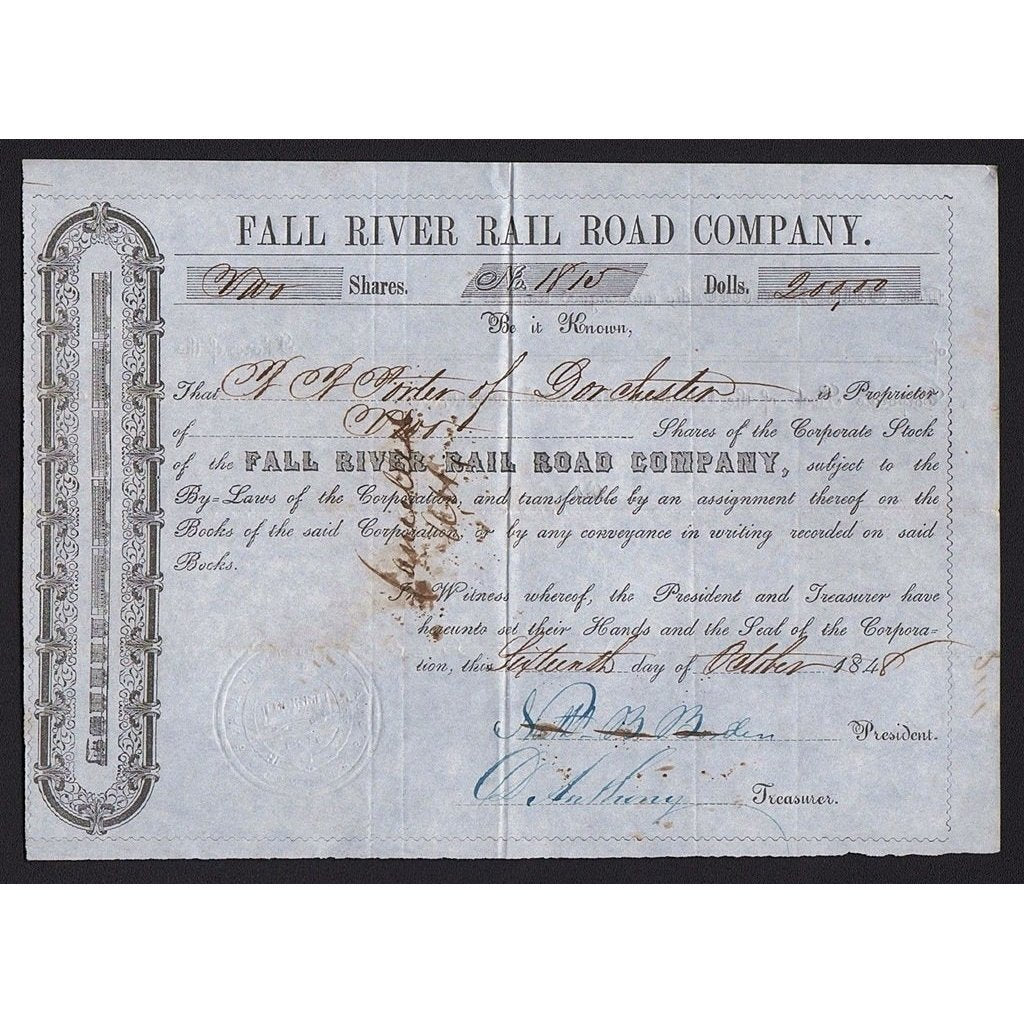 Fall River Rail Road Company Stock Certificate
