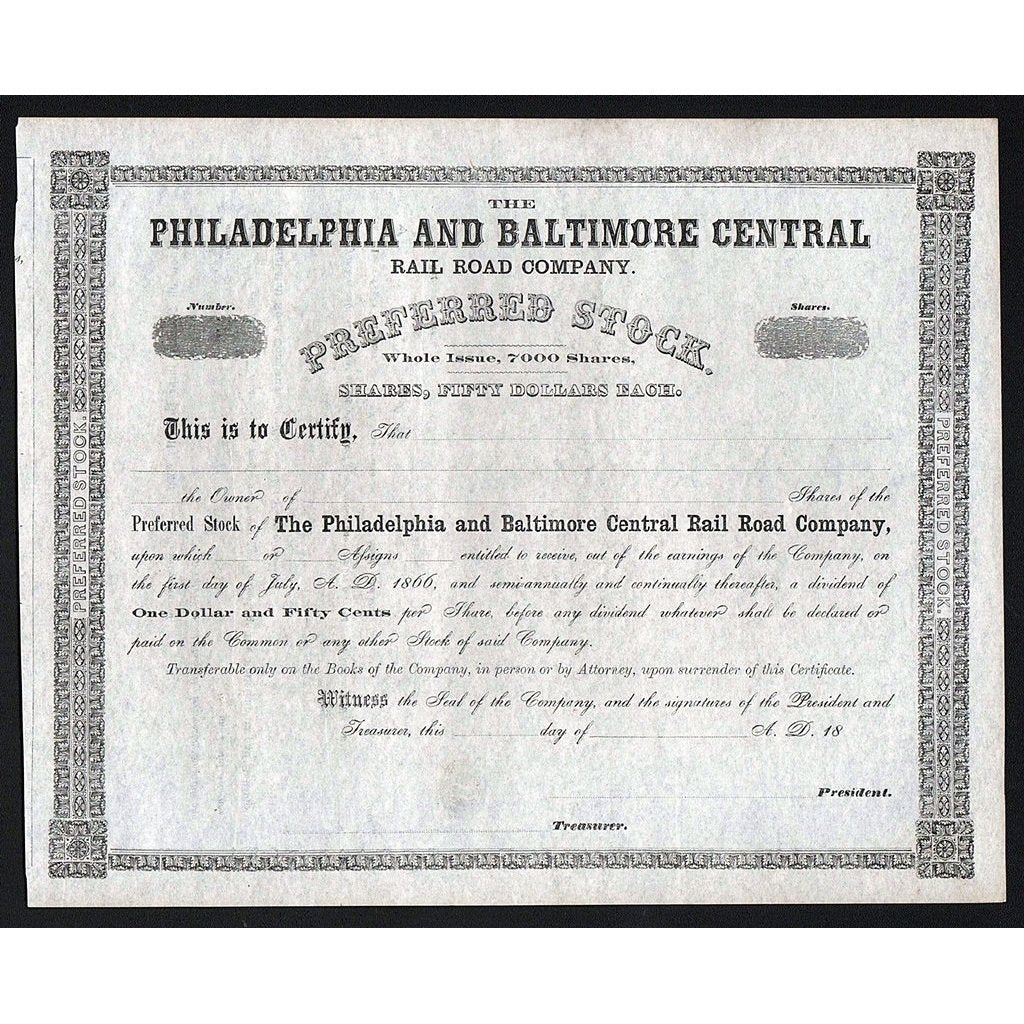 The Philadelphia and Baltimore Central Rail Road Company Stock Certificate