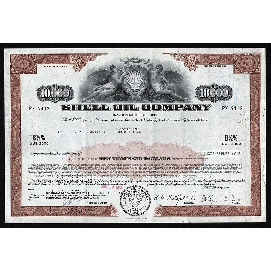 Shell Oil Company Stock Certificate