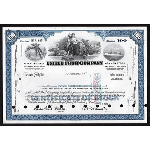 United Fruit Company (Chiquita Bananas) Stock Certificate