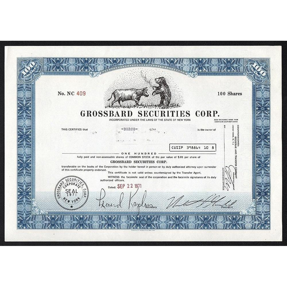 Grossbard Securities Corp. Stock Certificate