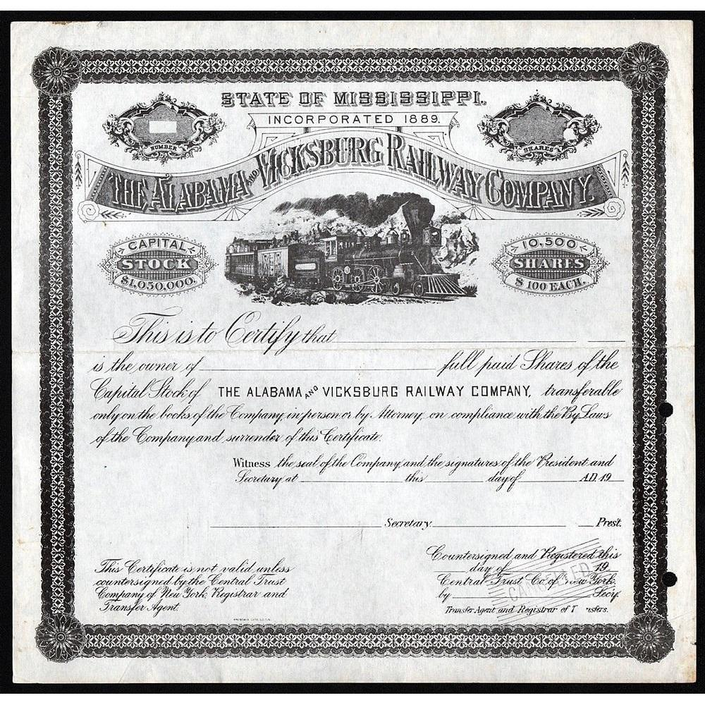 The Alabama and Vicksburg Railway Company Stock Certificate