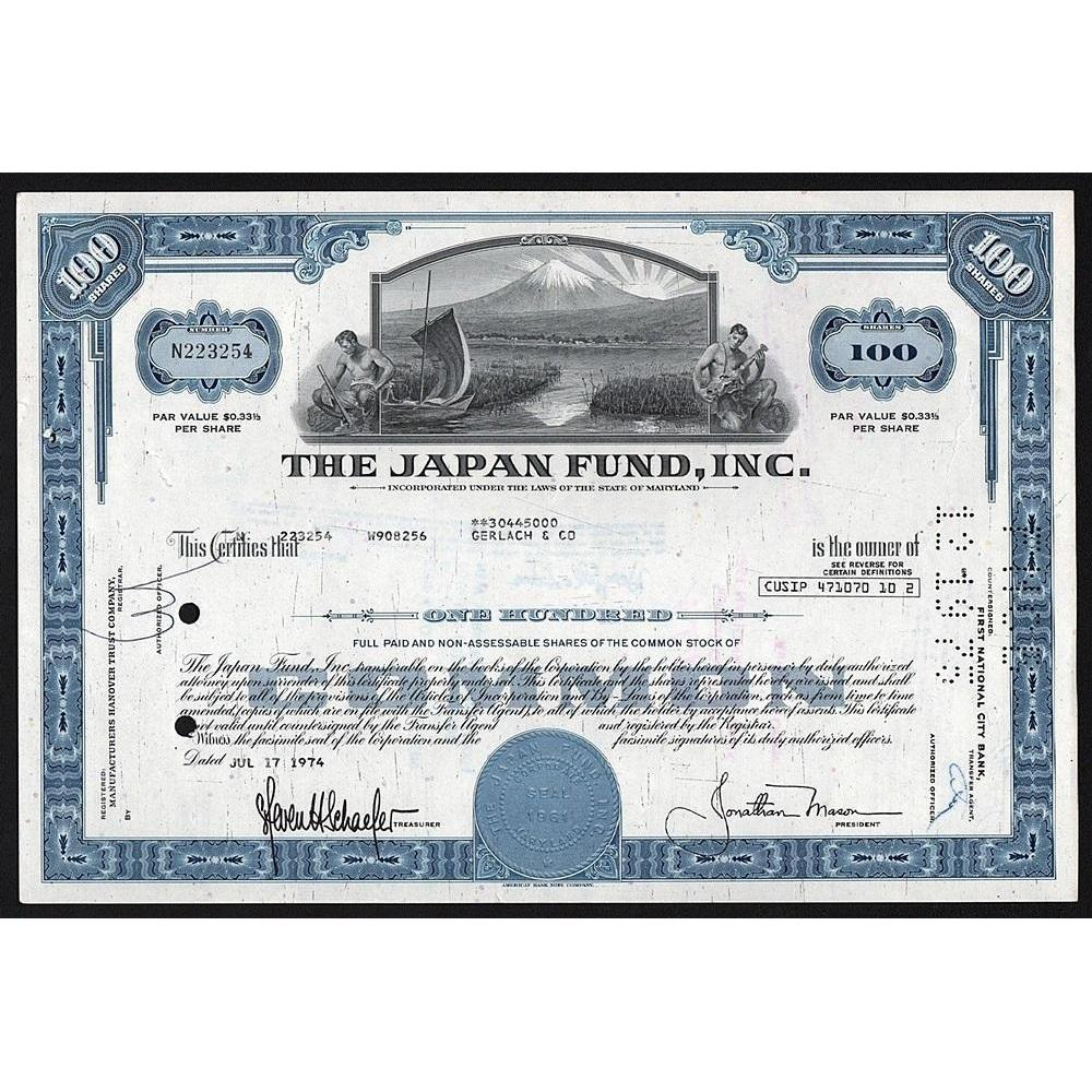 The Japan Fund, Inc. Stock Certificate