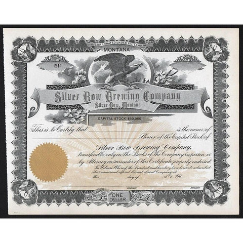 Silver Bow Brewing Company - Silver Bow, Montana Stock Certificate