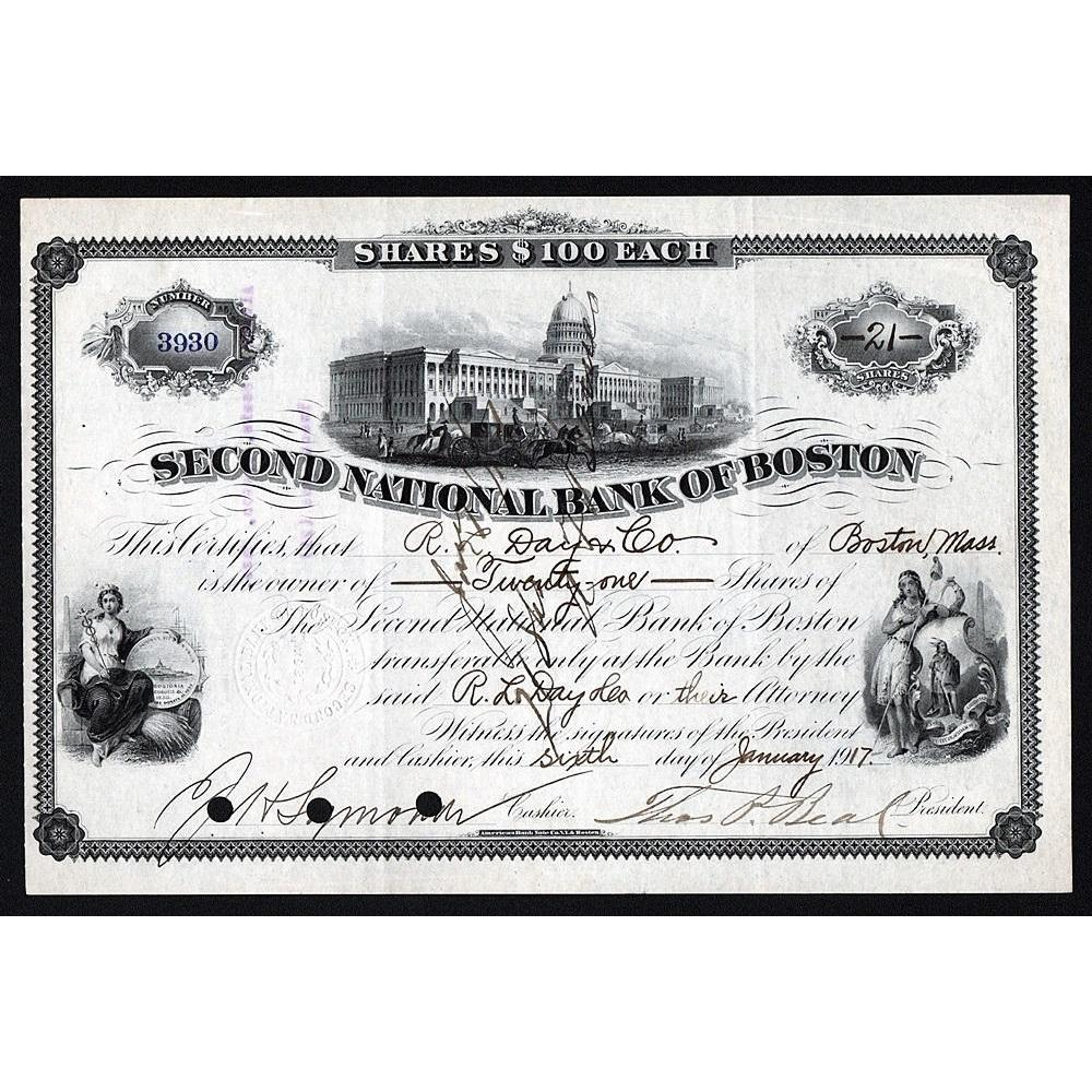 Second National Bank of Boston Stock Certificate