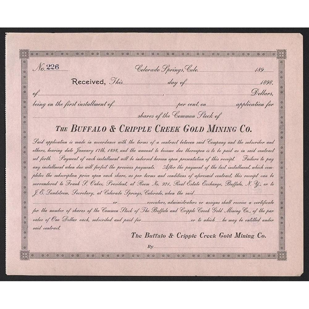 The Buffalo & Cripple Creek Gold Mining Co. Stock Certificate