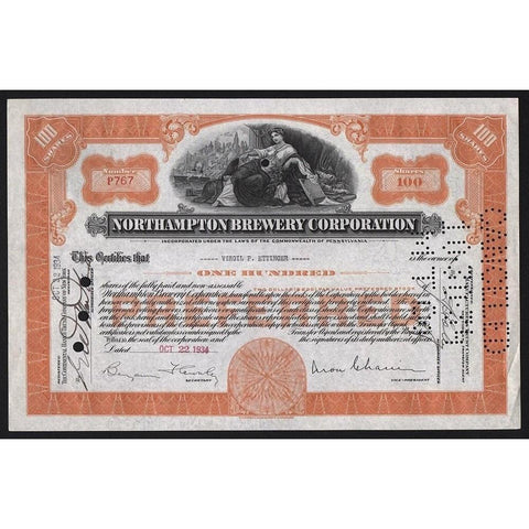Northampton Brewery Corporation Stock Certificate