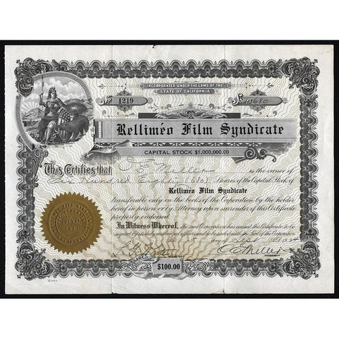 Rellimeo Film Syndicate Stock Certificate