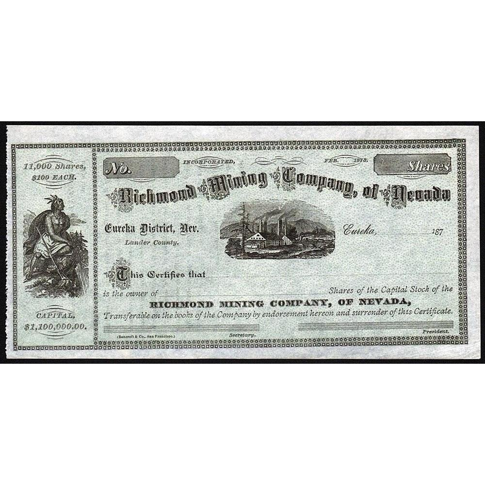 Richmond Mining Company, of Nevada Stock Certificate