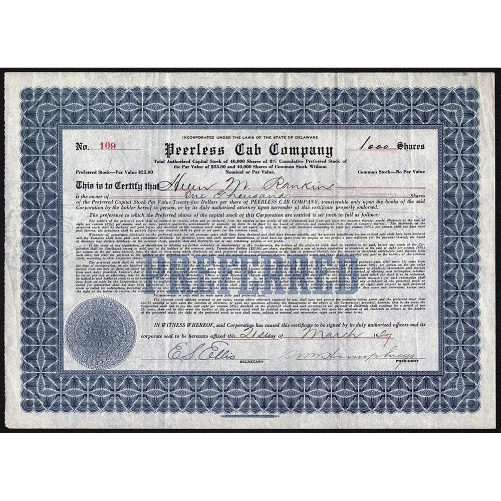 Peerless Car Company Stock Certificate