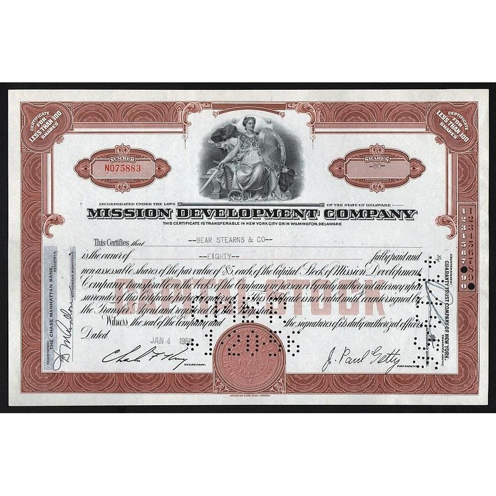 Mission Development Company (Bear Stearns) Stock Certificate