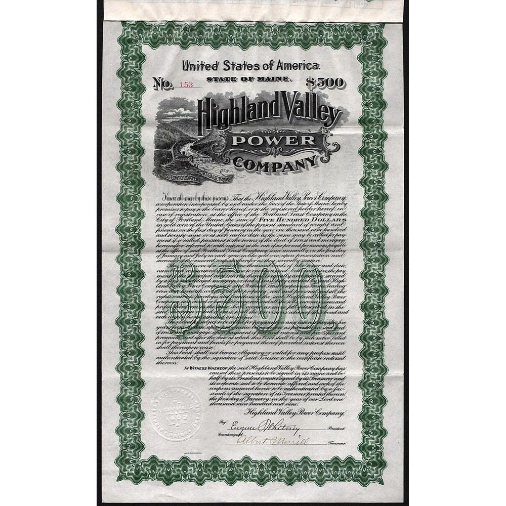 Highland Valley Power Company (Gold Bond) Stock Certificate