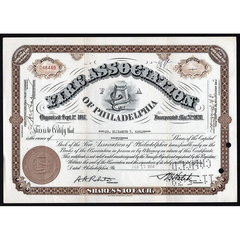 Fire Association of Philadelphia Stock Certificate