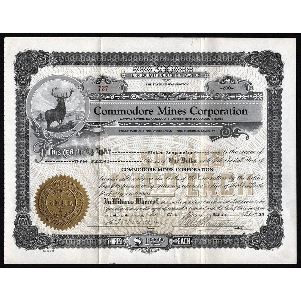 Commodore Mines Corporation Stock Certificate