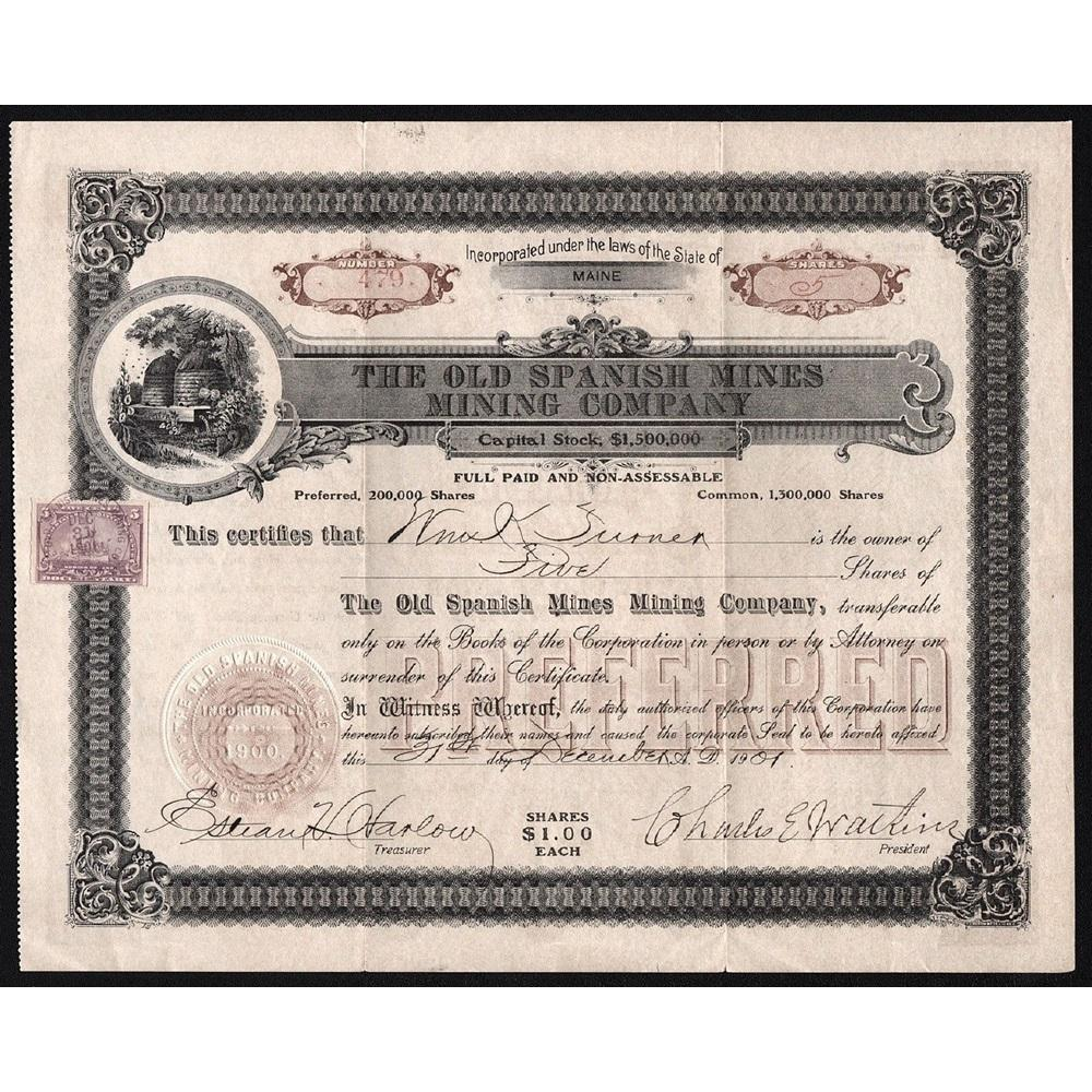 The Old Spanish Mines Mining Company Stock Certificate