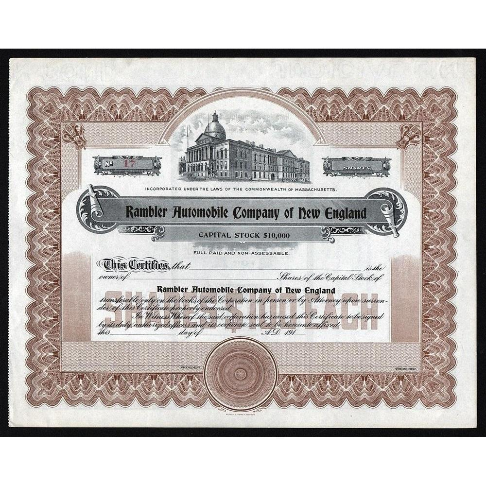 Rambler Automobile Company of New England Stock Certificate