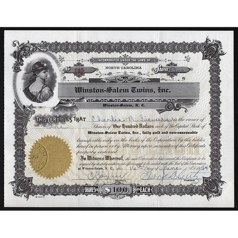 Winston-Salem Twins Inc. Stock Certificate