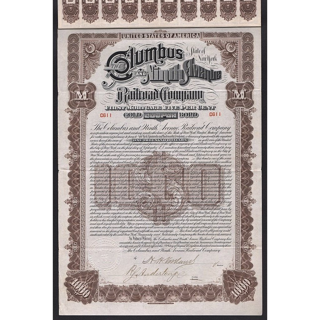 Columbus & Ninth Avenue Railroad Company Stock Certificate