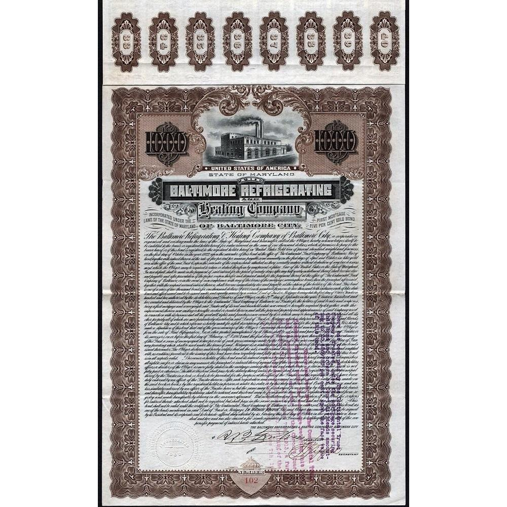 The Baltimore Refrigerating and Heating Company of Baltimore City Stock Certificate