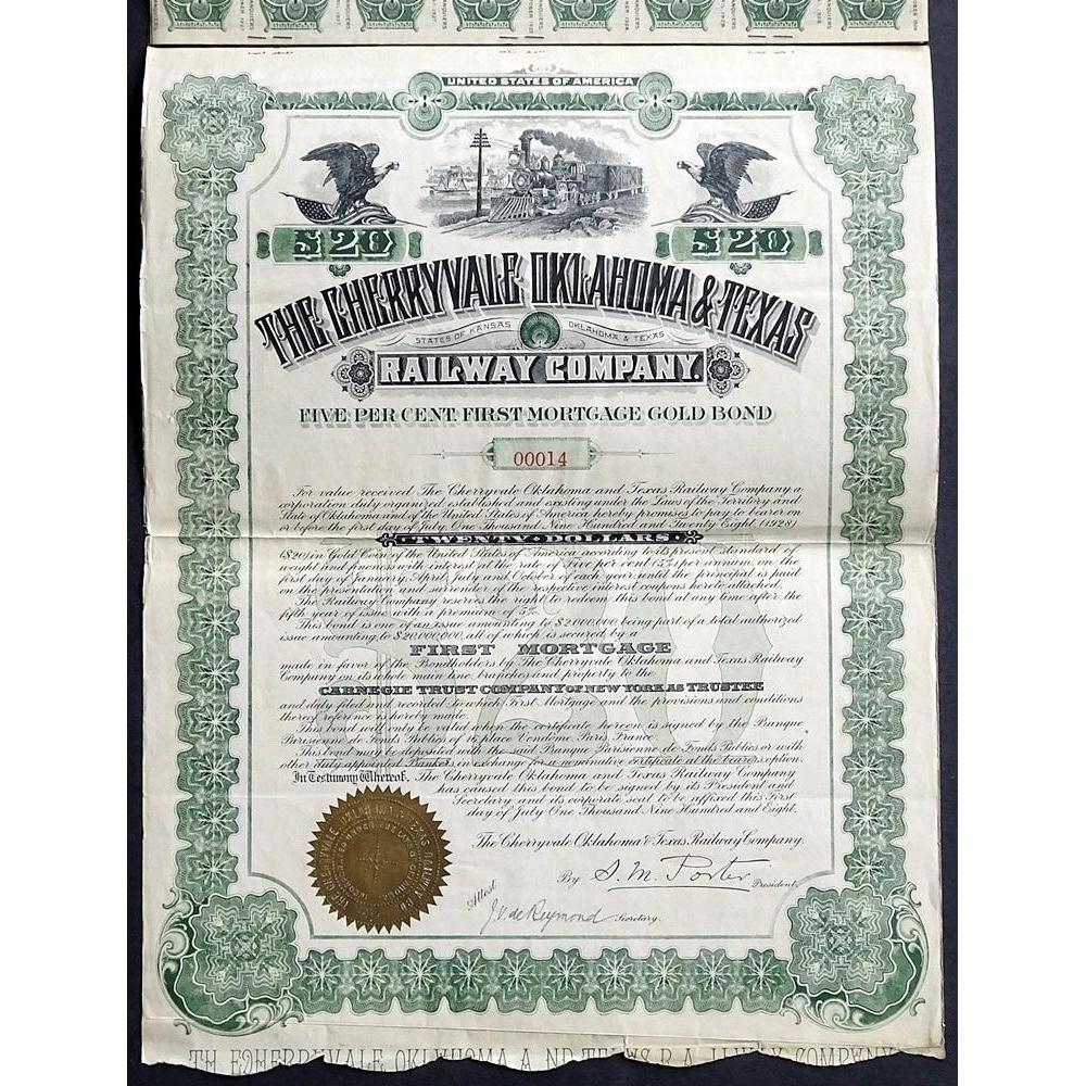 The Cherryvale Oklahoma & Texas Railway Company Stock Certificate