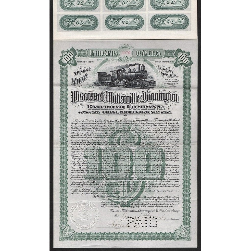 Wiscasset, Waterville and Farmington Railroad Company Stock Certificate