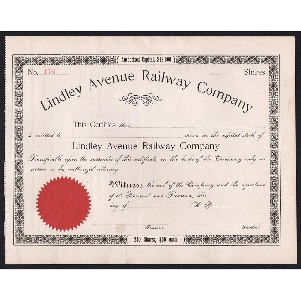 Lindley Avenue Railway Company Stock Certificate