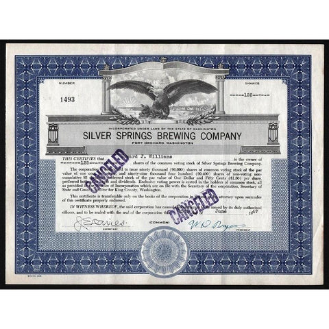 Silver Springs Brewing Company (Port Orchard, Washington) Stock Certificate