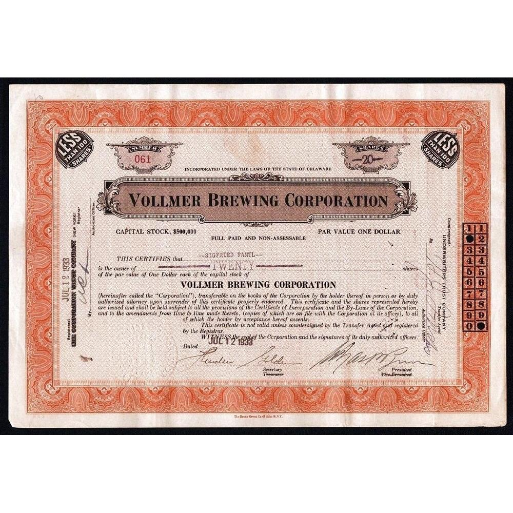 Vollmer Brewing Corporation Stock Certificate
