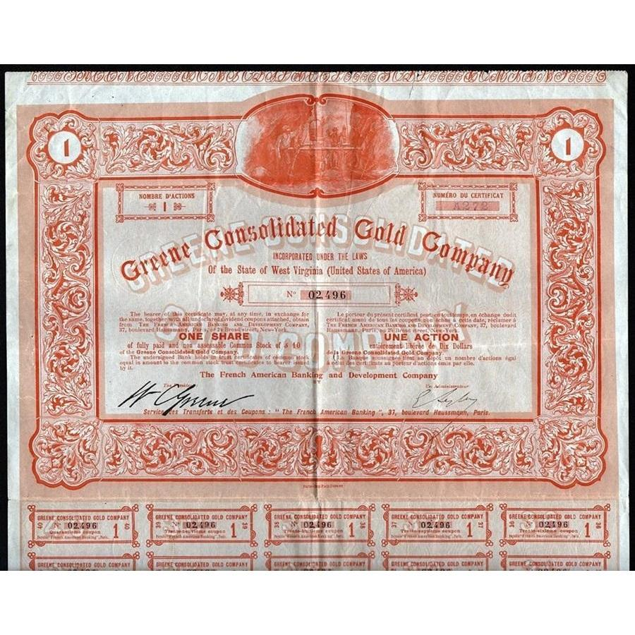 Greene Consolidated Gold Company Stock Certificate