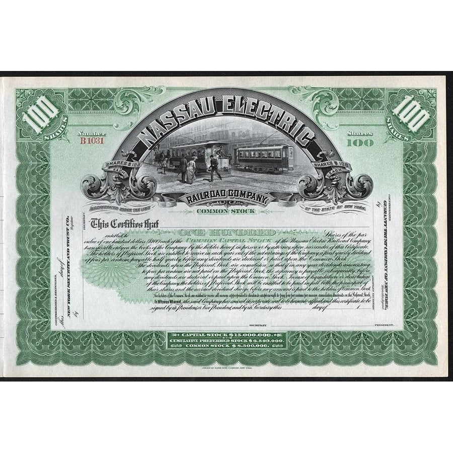 Nassau Electric Railroad Company Stock Certificate