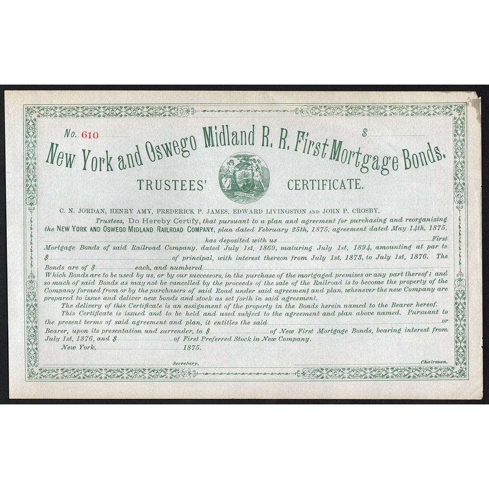 New York and Oswego Midland R.R. First Mortgage Bonds