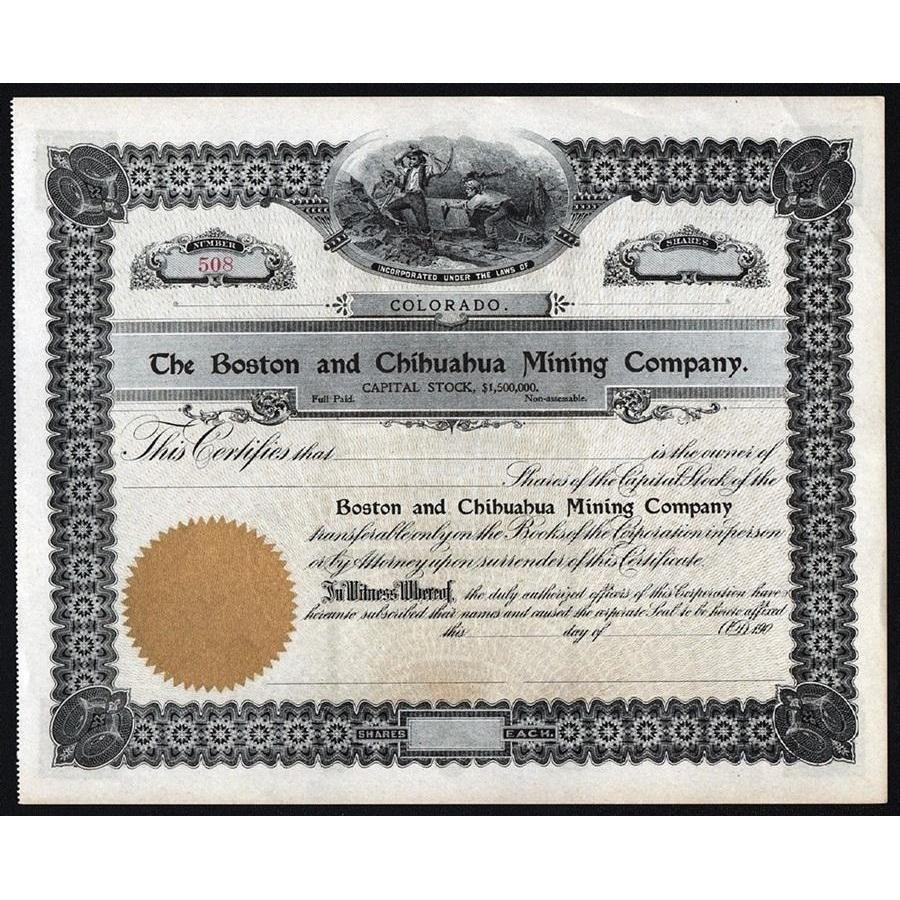 The Boston and Chihuahua Mining Company Stock Certificate