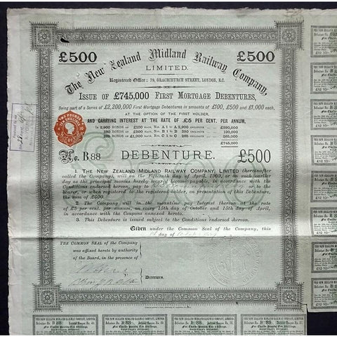 The New Zealand Midland Railway Company, Limited - £500