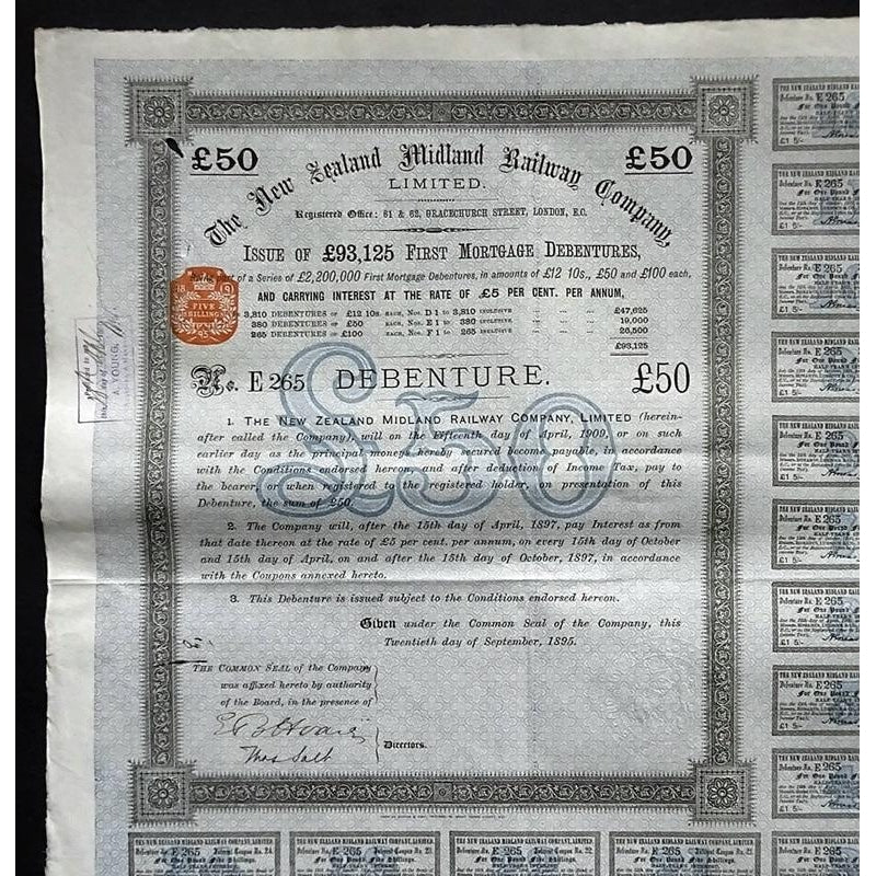 The New Zealand Midland Railway Company, Limited - £50