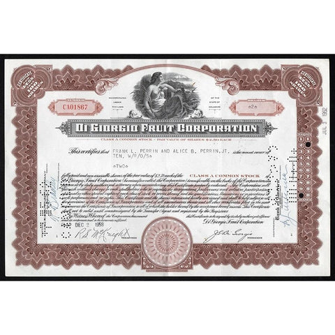 Di Giorgio Fruit Corporation Stock Certificate