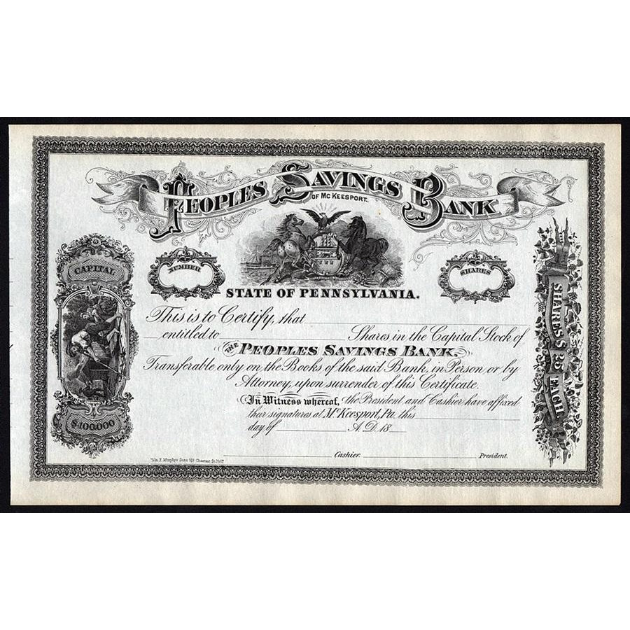 Peoples Savings Bank of McKeesport Pennsylvania Stock Certificate
